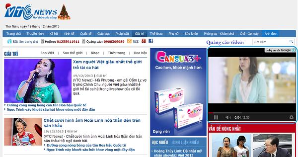 quảng cáo video hiển thị trên các trang web