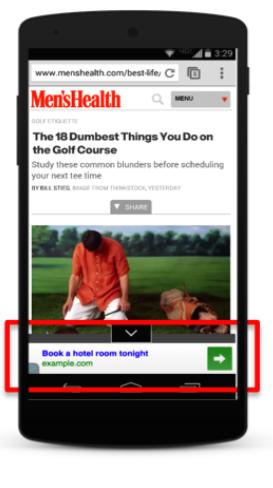 quảng cáo hiển thị trên các trang web di động