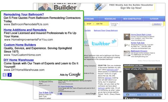 quảng cáo văn bản hiển thị trên các trang web